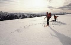 Skiers at olympic national park - stock photo