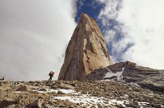 Climber approaching the sword torres del paine national park Stock Photos