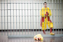 Prisoner in chicken suit Stock Photos