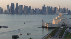 Time lapse from an aerial view from the Museum of Islamic Art Stock Footage