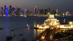 Museum of Islamic Art at night Stock Footage