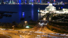 Aerial view from the Museum of Islamic Art at night Stock Footage