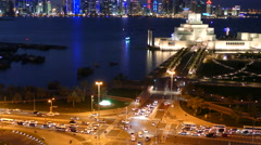 Time lapse from an aerial view from the Museum of Islamic Art at night Stock Footage