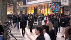 The Zeil premier pedestrian promenade shopping of Frankfurt Germany 4k - stock footage