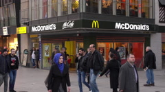 McDonalds restaurant on Zeil shopping street in Frankfurt 4k Stock Footage