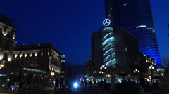 Mercedes Benz building in downtown Frankfurt Germany at night 4k Stock Footage