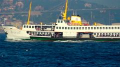 Istanbul city sea steamboat Stock Footage
