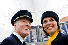 Flight personnel smiling Stock Photos
