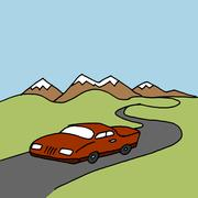 Car driving on a winding road Piirros