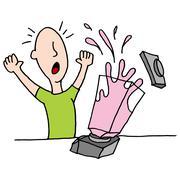 man using exploding blender - stock illustration