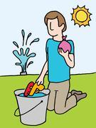 Reloading water gun and balloon - stock illustration