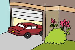 car parking in a garage - stock illustration