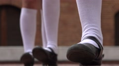 Girls Tapping Feet To Rhythm Stock Footage