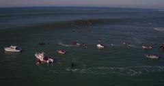Aerial View Surfers Riding Big Waves at Mavericks Stock Footage