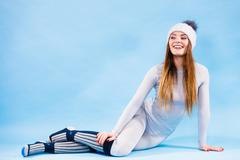 woman in thermal underwear top ang leggings - stock photo