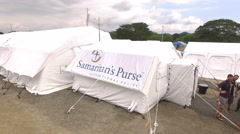 Samaritan's Purse - Flying Away from the Emergency Hospital Stock Footage