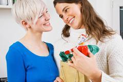 A lesbian couple giving christmas presents Stock Photos