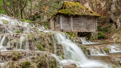 Old water mill and forest waterfalls on mountain river. Easy zoom in - stock footage