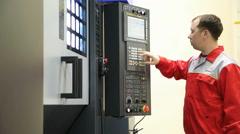 CNC operator machine Stock Footage