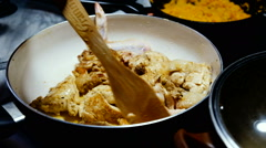 Frying pan chicken Stock Footage