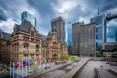 View of Nathan Phillips Square in downtown Toronto, Ontario. Stock Photos