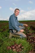 portrait farm worker - stock photo