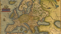 Antique Map of Europe Stock Footage