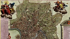 Antique map of Rome and the Vatican Stock Footage