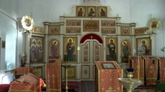 In orthodox church. View of Bible, lamp and icon Stock Footage
