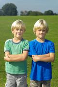 Two blond boys Stock Photos