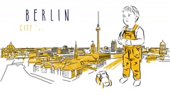 Berlin City Guide Animation with little cute boy Stock Footage