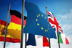 Waving European Union countries flags on blue sky Stock Illustration