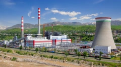 The new thermal power plant in Dushanbe Stock Footage