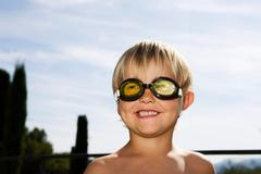 2 wearing goggles - stock photo