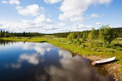 View of a lake in lapland - stock photo