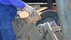 Cutting wood - stock photo