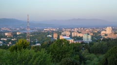 Sunrise over the Dushanbe city  in Tajikistan - stock footage