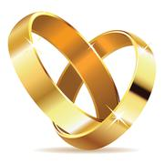 Golden wedding rings - stock illustration