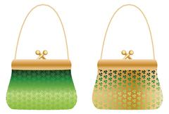 Purses with clover - stock illustration