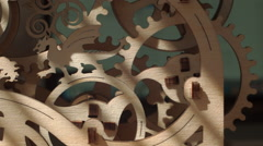 Rotating wooden gears and wheels - stock footage