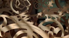 Rotating wooden gears and wheels Stock Footage