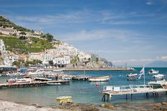 Harbour on the amalfi coast - stock photo