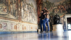 Young tourist admire fresco paintings at Capitoline Museums Stock Footage