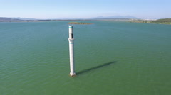 Aerial, 4K View of Mosque Minaret At Middle of The Lake Stock Footage