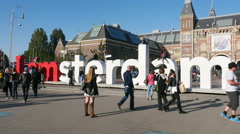 Famous Amsterdam Sign & People - Rijksmuseum - Amsterdam Stock Footage