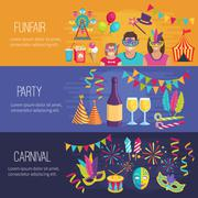 Carnival Flat Banners - stock illustration