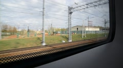 View from train window at entrance to  Leningrad station Stock Footage