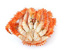 Alaskan king crab in isolated white background - stock photo