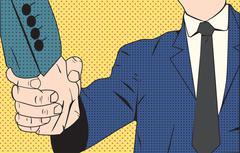 Handshake businessman retro style pop art Stock Illustration