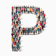 group  people  shape letter P vector - stock illustration
